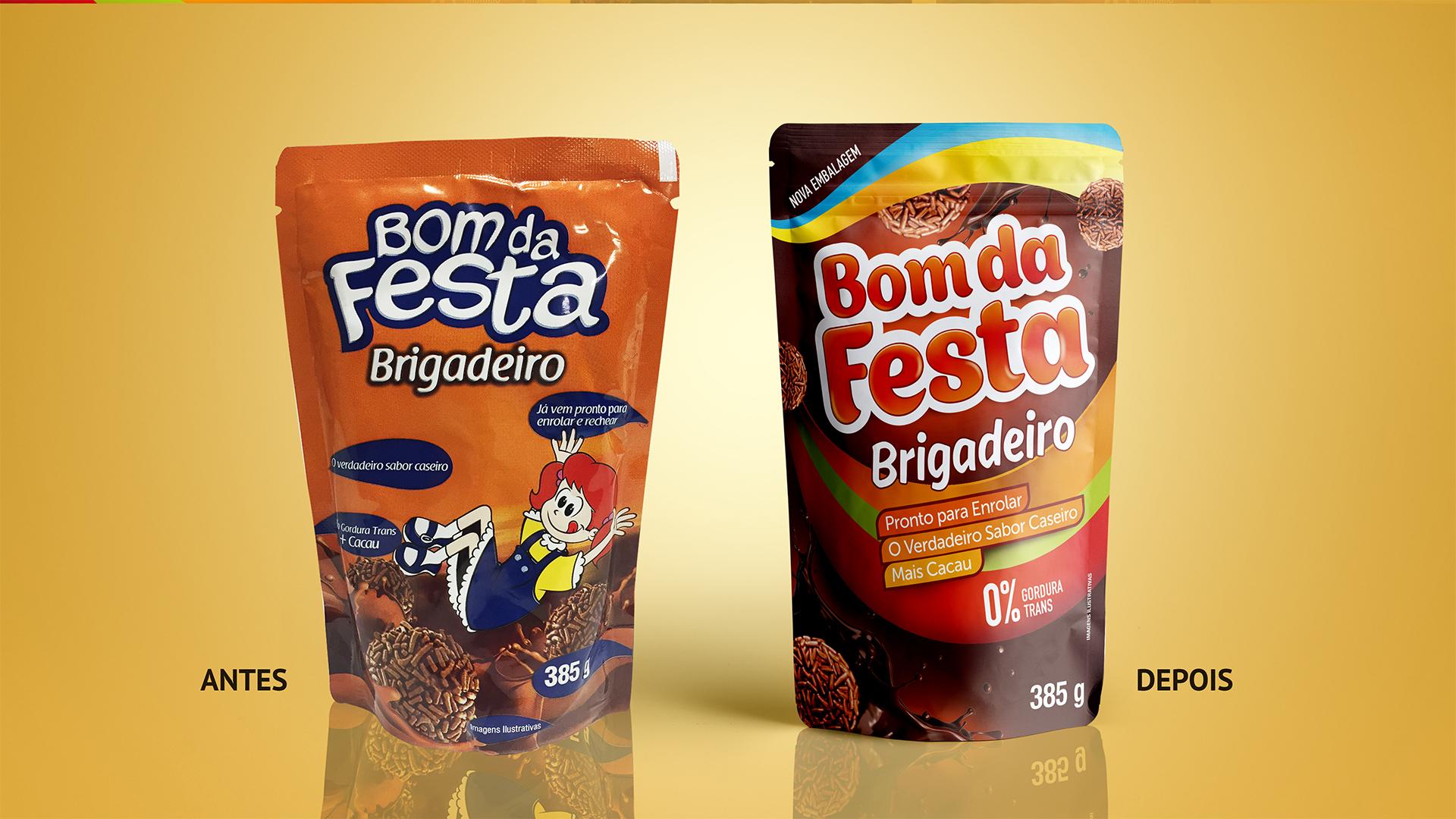 Bom de Festa Antes e Depois das embalagens